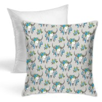 Cow Skull Blue Grey Throw Pillow Covers for Sofa Bedroom , Can be used in holiday house. 45cm x 45cm