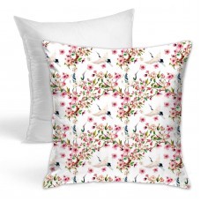 Crane Sakura Pattern Throw Pillow Covers for Sofa Bedroom , Can be used in guest room 45cm x 45cm