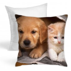 Cute Dog And Cat Throw Pillow Covers for Sofa Bedroom , Can be used in recreational vehicle 45cm x 45cm