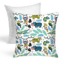Jungle Nursery Animals Throw Pillow Covers for Sofa Bedroom , Can be used in recreational vehicle 45cm x 45cm