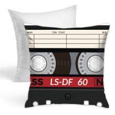 Retro Audio Cassette Music Note Throw Pillow Covers for Sofa Bedroom , Can be used in recreational vehicle 45cm x 45cm