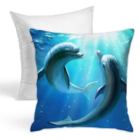 Stylish Cute Couple Dolphin Love Blue Ocean Throw Pillow Covers for Sofa Bedroom , Can be used in guest room 45cm x 45cm