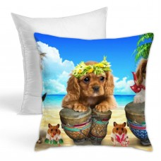 Summer Puppy Wallpaper Throw Pillow Covers for Sofa Bedroom , Can be used in any room-bedroom 45cm x 45cm