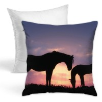 Sunset Horses Silhouette Throw Pillow Covers for Sofa Bedroom , Can be used in holiday house. 45cm x 45cm