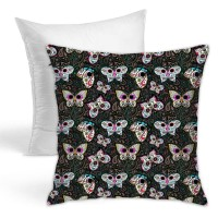 Tiny Butterfly Sugar Skulls Printed Fabric Throw Pillow Covers for Sofa Bedroom , Can be used in guest room 45cm x 45cm